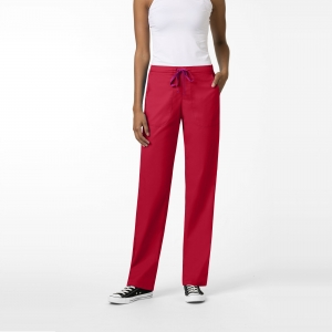 Zoe + Chloe Cherry Red Boot Cut Cargo Pull On Scrubs Pant For Women