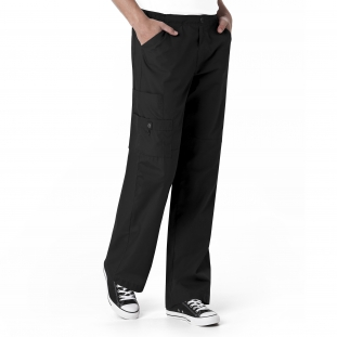 WonderWink Black Pull Cord Waist Scrub Pant For Men
